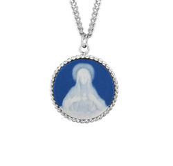 Blue Immaculate Heart Of Mary Cameo Medal