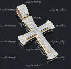 14k Solid Yellow Gold Channel Set Natural Diamond Cross Pendant Made In Usa