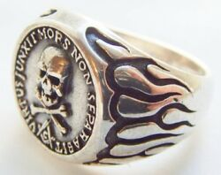 Sterling Silver 925 Flame Skull And Bones Masonic Handmade Ring Size 10