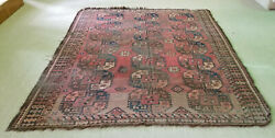 Antique Late 19c Afghan Elephant Foot Pattern Oat Hair Foundation Rug 6and0398x8and0393
