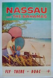 Boac Nassau And Bahamas Vintage 1958 Travel Airlines Poster 25x40 Rare Linen Nm