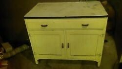 Antique/vintage Kitchen Cabinet..metal Topand Wood Bottom- Great Patinaand Condition