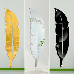 Modern 3D Mirror Feather Wall Sticker Art DIY Decal Mural Removable Room Decor