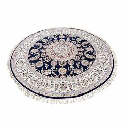 8and039x8and039 Navy Blue Round Nain Wool And Silk 250 Kpsi Hand Knotted Rug G48792