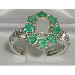 Solid 18ct White Gold Natural Opal And Emerald Womens Cluster Ring - Sizes J To Z