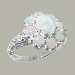 Solid 18ct White Gold Natural Opal Womens Cluster Ring - Sizes J To Z