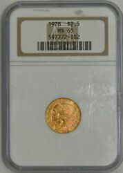 1928 2 1/2 Gold Indian Ms65 Old Holder - Generation 7.0 Ngc 934717-62