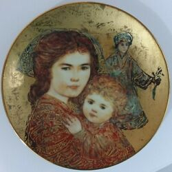 Edna Hibel Olivia And Hildy Mother's Day Collectors Plate, The Royal Gold