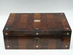 Antique 19 C. English Campaign Writing Box W/ Inlaid Mother Of Pearl