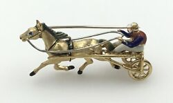 Estate Piece 18k Yellow Gold Enameled Horse And Jockey Trotter Brooch Pin Pendant