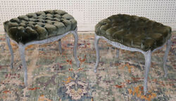 Beautiful Pair Olive Green Velvet And Gray Painted French Louis Xv Foot Stools