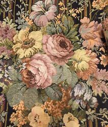 Tapestry Valance Fabric Roses Heavyweight French Victorian Style Black Pink Red