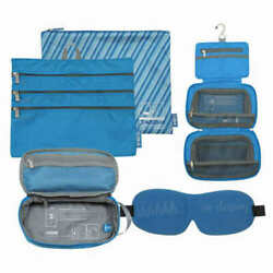 Flight 001 Cosmetic 4 Piece Travel Eyemask Toiletry Organizer Bag Set Blue NEW $27.00