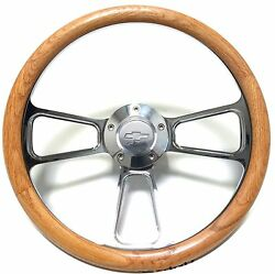 1967 -1969 Chevy Corvair Oak And Billet Steering Wheel Adapter Chevy Horn Kit