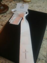 Communion Boy's White Tie and Handkerchief Set with Cross - embroidered
