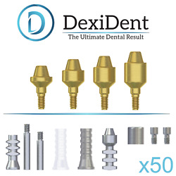 50x Straight Next Gen Multi Unit Abutment System For Dental Implant Tin Coated