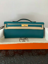 New Fall 2019 Hermes Kelly Cut Clutch Bag Vert Bosphore Swift Gold Hardware $7,250.00