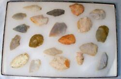 Lot Of 20 Authentic Indian Arrowheads And Artifacts Various Sizes And Colors