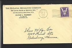 Mayfield, Kentucky 1945 Win The War Cover, Advt, The De Laval Separator Co.