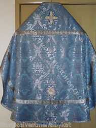 Blue Silver Crown Priest Vestments Metallic Brocade Russian Style To Order
