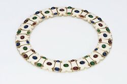 Ciner Wide White Enamel Green Blue Red Cabochon Glass Collar Necklace