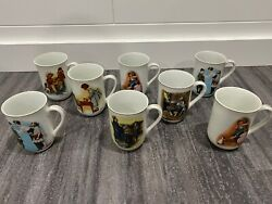 Authentic Norman Rockwell 1981-1982 Mug Collection 8 Mugs 24k Gold Trim Rare