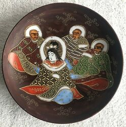 Antique Signed Japanese Porcelain Moriage Plate Kannon And Rakan