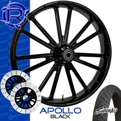 Rotation Apollo Black Custom Motorcycle Wheel Front Package Harley Touring 26