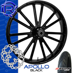 Rotation Apollo Black Custom Motorcycle Wheel Front Package Harley Touring 23