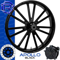 Rotation Apollo Black Custom Motorcycle Wheel Front Package Harley Fatboy 18