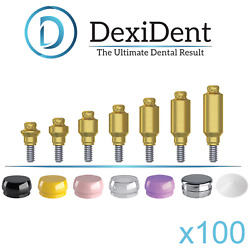 100x Lock Attachment Abutment Set + Caps + Housing + Ring For Dental Implant Hex