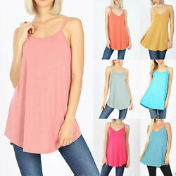 Women's Spaghetti Strap Tunic Tank Top Loose Fit Casual Blouse Soft Flowy Long $10.95