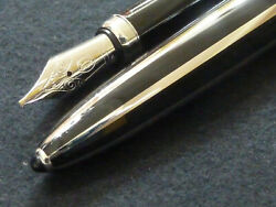 Blk Lacq And Platinum Striped Calligraphy Pen W/baccarat Crystal Stand