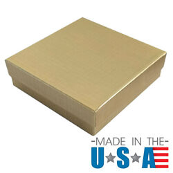 Gold Linen Cotton Filled Jewelry Display Packaging Gift Boxes Lots 10,25,50,100