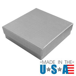 Silver Cotton Filled Gift Boxes Jewelry Cardboard Box Lots Of 122550100500