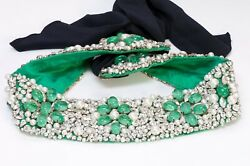 Vintage Maison Gripoix Wide Beaded Green Cabochon Glass Pearl Crystal Satin Belt