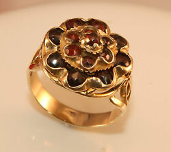 100 Genuine Antique 9k Solid Yellow Gold Old Rose Cut Garnet Cluster Ring 6 Usa