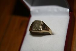 100 Genuine Vintage 375 9k Solid Yellow Gold Signet Ring Sz 9.5 Or T