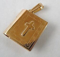 100 Genuine Vintage 9ct Solid Yellow Gold Holy Bible Pendant With Paper Pages
