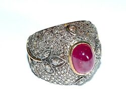 Huge Vintage 14kt 25 Carats Ruby Rose Cut Diamond Dome Ring