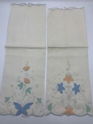 2 Vintage Madeira Embroidered Applique Hand Guest Towels Linen Flowers Butterfly