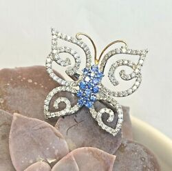 Lady's Diamond And Blue Sapphire Big Butterfly Cocktail Ring 18ktwg