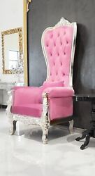 Chair - High Back Chair - Queen High Back Chair - Pink Leather W/ Silver Frame