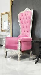 Chair - High Back Chair - Queen High Back Chair  - Pink Leather w Silver Frame