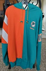 Vintage 90s Starter Miami Dolphins 2 Tone Pullover Hoodie L Fits Like XL $46.00