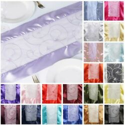 50 Wholesale Lot Embroidered 14x108 Table Runners Fancy Wedding Party Linens