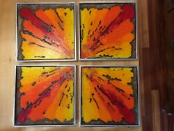 Edith Heath Ceramics Signed Hand Painted To The Far Corners 4x 12x12 Tiles