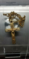 18k Large Gold Cross And Chain More Then 40 Years Old Beautiful Detail From Malt