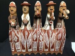Vintage Inca Village Band Peru Peruvian Hand Crafted Clay Pottery Flute Whistle