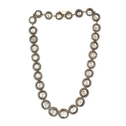 Oxidized Polki Diamond Choker Necklace 925 Sterling Silver Victorian Jewelry